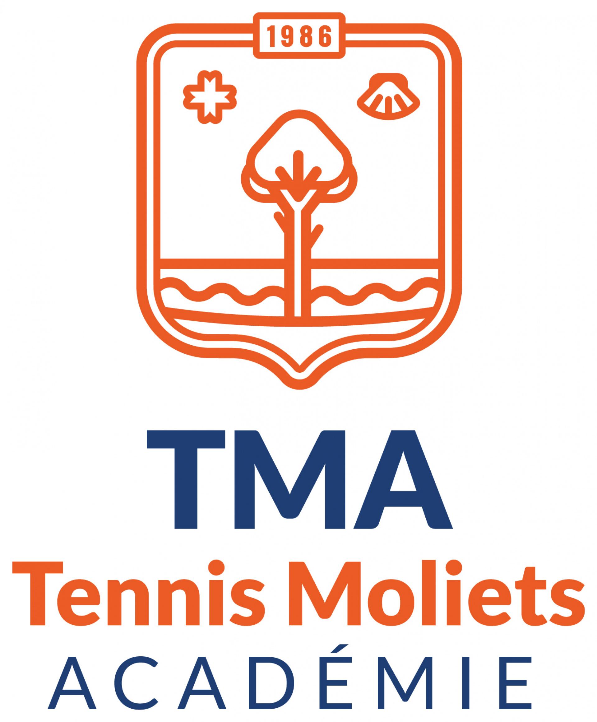 Le logo de la tennis moliets académie Du tennis de Moliets qui propose la location de courts à l'heure en dur, green-set, terre-battue, gazon couverts ou extérieurs. Des stages tennis pour tout public de Académie et Tennis Club de Moliets dans le sud-